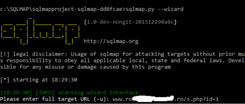 sqlmap select target website